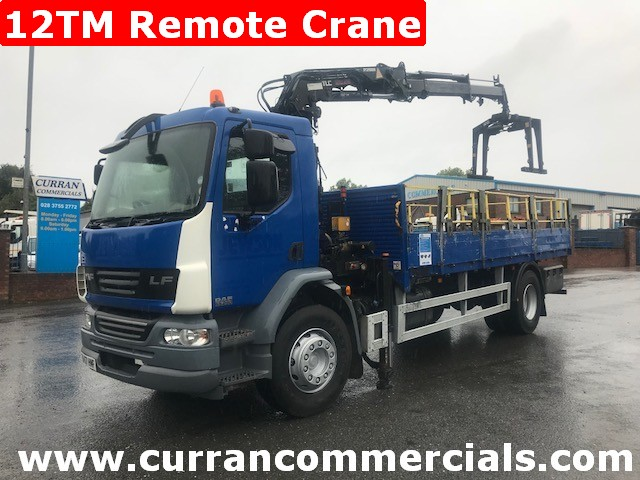 2008 daf lf 55 250 4x2 18 ton flat with 12tm remote crane and grab